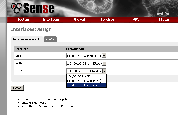 Adding another LAN NIC in pfSense | Easton's stuff