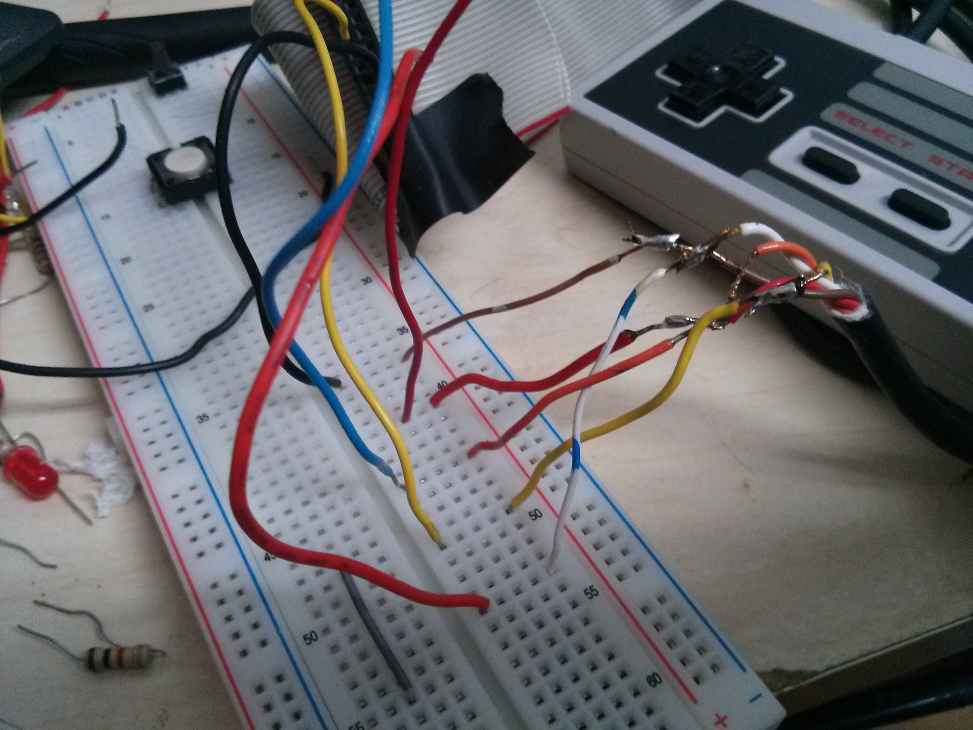 Nes Eastons Stuff Breadboard Wiring Diagram I Spliced The Wires On Controller Thanks To This And Used A Connect Appropriate Ground 5v Data Latch