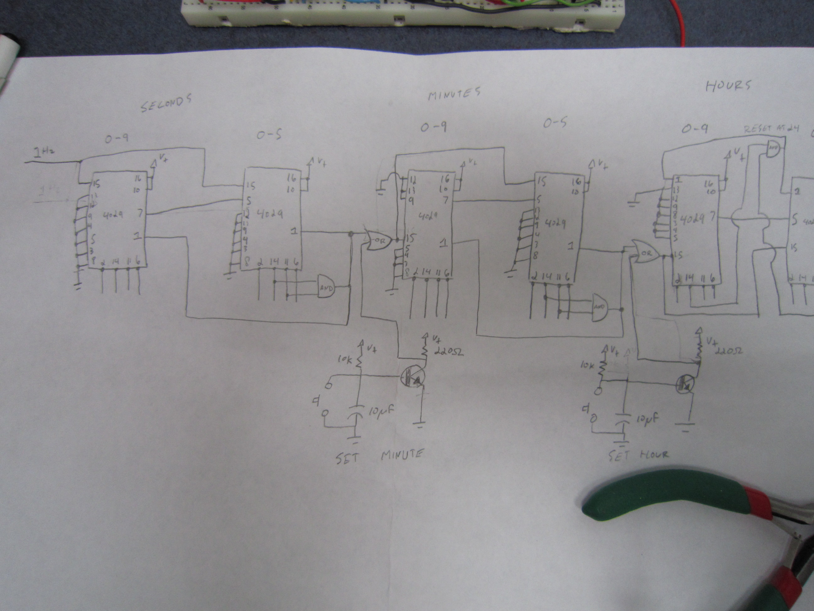 4000 Series Cmos 24 Hour Clock Eastons Stuff 7 Segment Circuit Diagram The Above Image Was Basis Of Not Shown A 4060 And 4013 Ic To Make Nice 1hz Signal Which We Can Use For Seconds